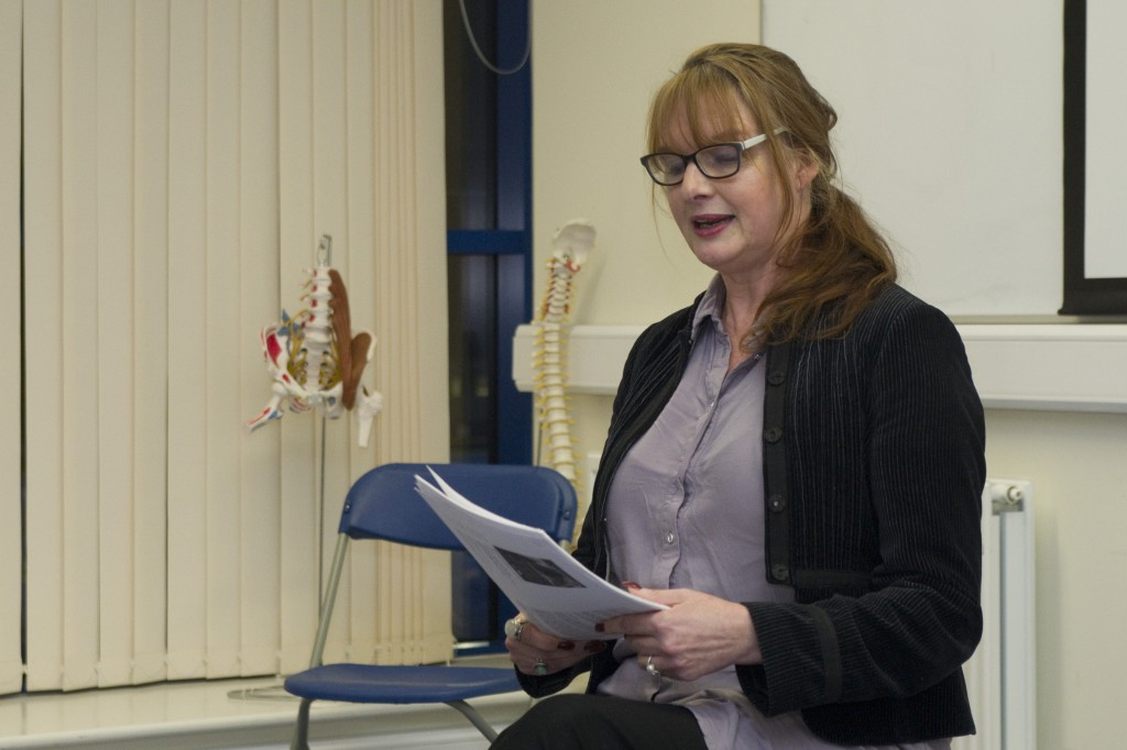 Cardiff Leg: BAFTA-award winning writer Catrin Kean reading from her upcoming book Breath. Photograph by Phil Martin.