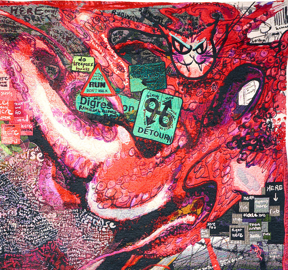 Detail from tapestry art I Run and Run, Let Out an Earth Shattering Roar, and Turn Into a Giant Octopussy. From #MagicCarpet by Kai Syng Tan 2017-2019.