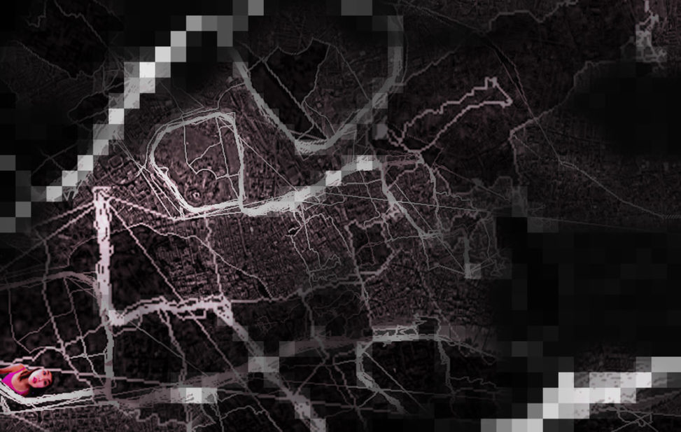 Maze/Amazed. 2012 drawing based on GPS of my runs in Regent's Park. From Kaidie's 1000-Day Trans-Run (2009-2014).