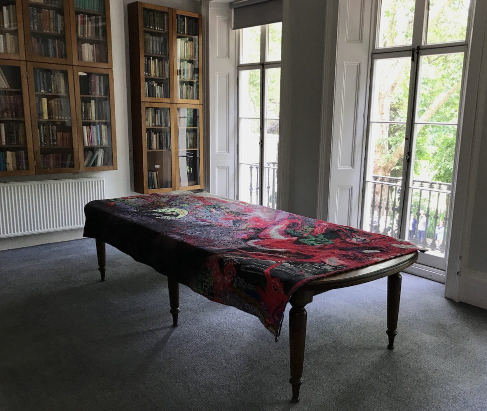 #MagicCarpet at Birkbeck Arts Week 2019, with provocation, film screening and exhibition with I Run and Run, Let Out an Earth Shattering Roar, and Turned into a Giant Octopussy (tapestry art) installed at the Birkbeck Arts Week in a room that used to be the art studio of the sister of Virginia Woolf, artist Vanessa Bell.