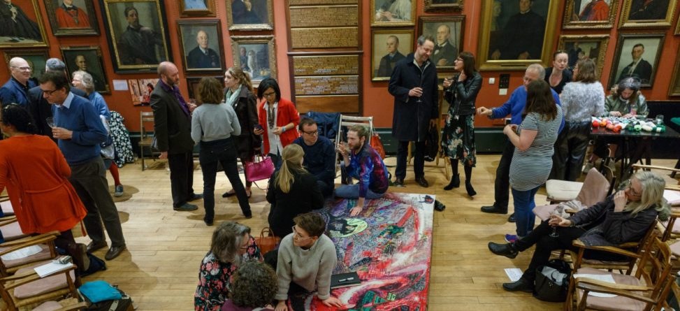 Launch of tapestry art and panel discussion on 'neurodiverse art', Art Workers' Guild. Part of #MagicCarpet (Kai Syng Tan 2017-2019). Photograph by Marco Berardi.
