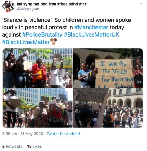 Silence is Violence. #Blacklivesmatter Tweet 31 May (Kai Syng Tan 2020)