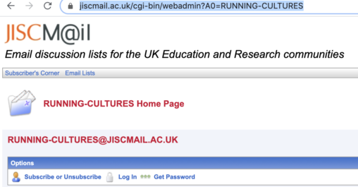 Running Cultures Research Network on Jiscmail